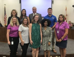 (From top left: Charlin Knight, SRC Workforce Development Director; Carol Boston, SRC School Board Chair; Tim Wyrosdick, SRC School Superintendent; Logan Taylor, CCD Scholarship Recipient. From bottom left: Kelli Rice NWFL CCD Scholarship Chair (FDOT), Kimberly Channel, CCD Representative; Riley McPheeters and Asha Waters, CCD Scholarship Recipients; Linda Melvin, CCD Representative)